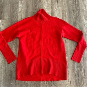 French connection Red Mock Neck High Low Sweater